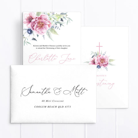 Beautiful Pink Floral Baptism Invitation, Calligraphy and Leafy Foliage
