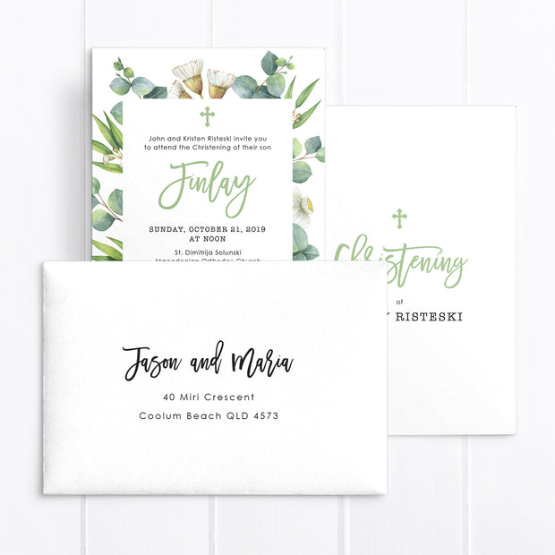 Baptism or Christening invitation for boy or girl featuring Eucalyptus and Native leaves