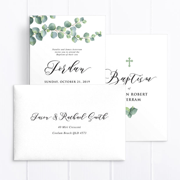 Baptism or Christening invitation for boy or girl featuring Eucalyptus leaves and catholic cross