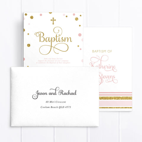 Baby pink and gold glitter girl baptism or christening invitation. Double sided with flourish calligraphy. calligraphy