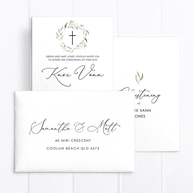 Minimal boy baptism invitation with wreath and calligraphy font