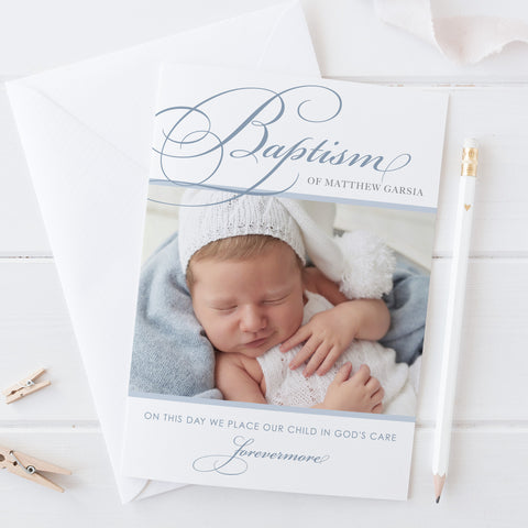 Baptism photo invitation with traditional calligraphy and catholic cross, a photo of your baby boy or girl in blues and brown colours