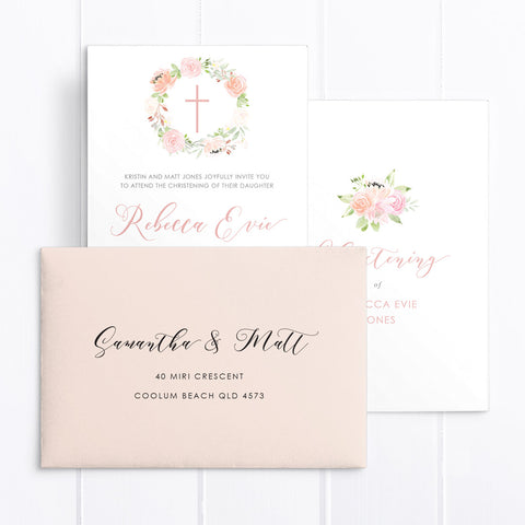 Blush pink floral wreath and calligraphy Baptism Christening invitation