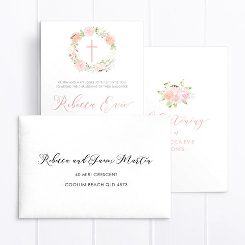 Baptism Christening invitation printed both sides, calligraphy font and beautiful watercolour wreath with modern cross. Pink and apricot colours.