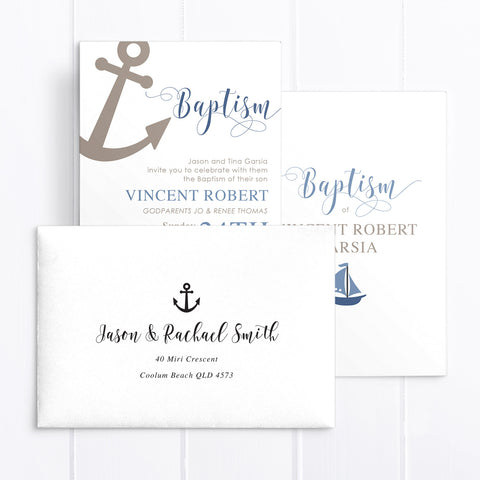 Nautical sailing boy baptism invitation with anchor and little boat, blue and chocolate brown colours