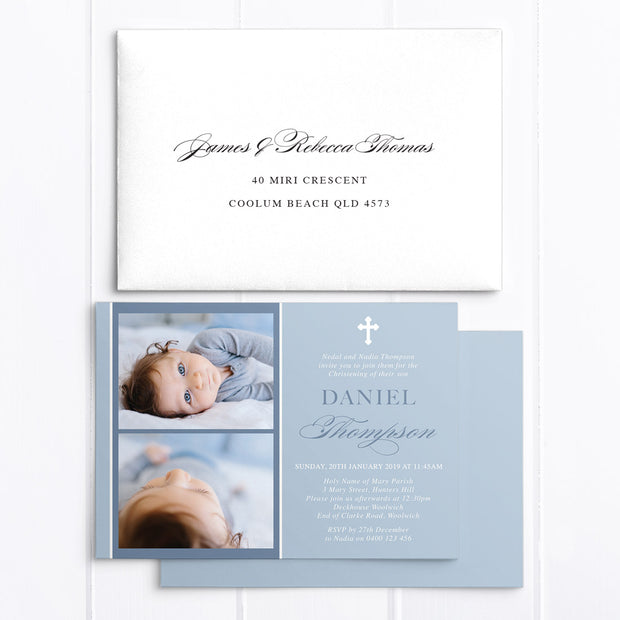 Blue Photo Baptism Christening invitation, Traditional Calligraphy