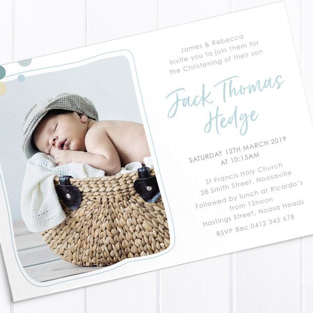 Modern boy or girl christening invitation using soft colours of mint , blue and chocolate, cross and a photo of your little boy
