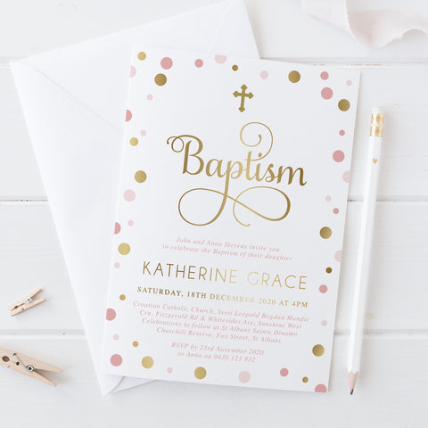 Girl Christening or Baptism Invitation with real gold foil and pink spots, beautiful calligraphy, professionally printed in Australia