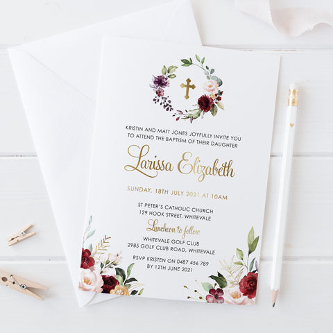 Girl Christening and Baptism Invitation with real gold foil, calligraphy and beautiful red floral wreath