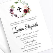 Girl christening or baptism invitation, double sided with black text, calligraphy font and beautiful watercolour florals