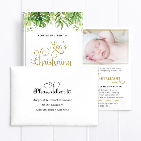 Christening or Baptism invitation for boy or girl with gold glitter safari animals, calligraphy font in gold and tropical watercolour leaves