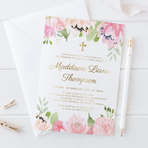 Girl Christening or Baptism Invitation with real gold foil, calligraphy and beautiful soft pink flowers top and bottom of card