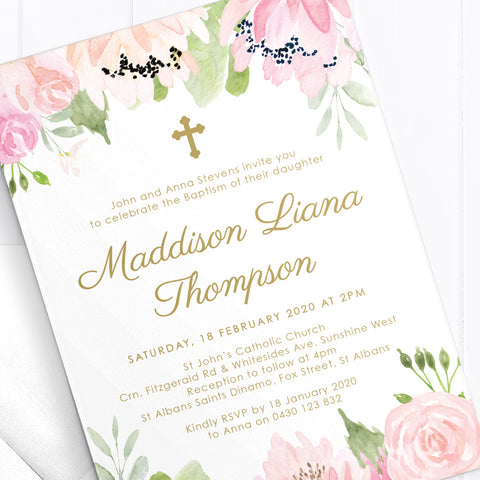Beautiful pink and blush floral girl Baptism invitation with gold text and wreath