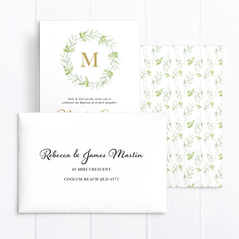 Baptism or Christening invitation with minimal style, natural green leafy wreath and gold monogram