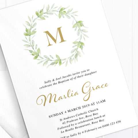 Natural green leafy wreath monogram invitation, Baptism or Christening