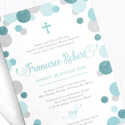Aqua or Teal Christening or Baptism photo invitation with glitter spots