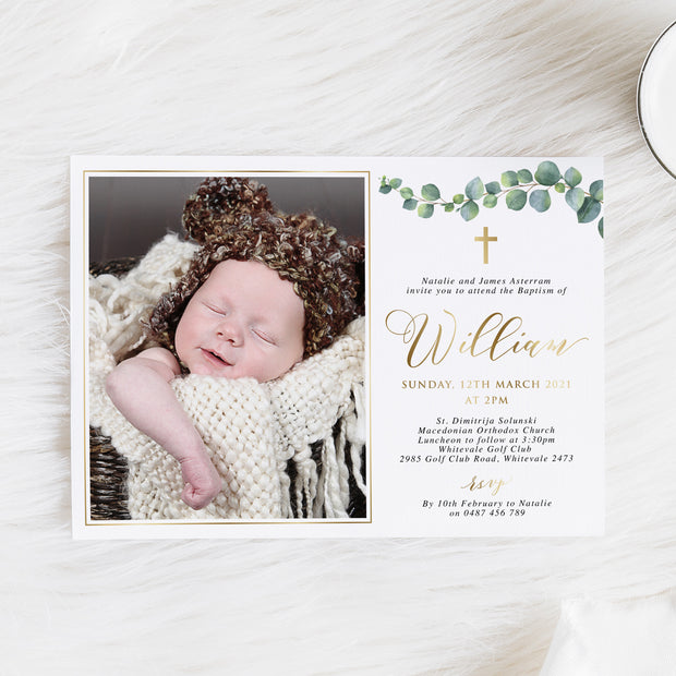 Gold foil baptism or christening invitation with eucalyptus leaves and a photo of your little boy.
