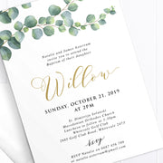 Baptism or Christening invitation with trailing eucalyptus vine, calligraphy font, catholic cross in gold and black. Double sided printing.