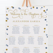 Baptism or Christening seating chart with navy and blue spots, gold glitter and modern calligraphy font