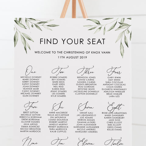 Knox - Baptism Seating Chart