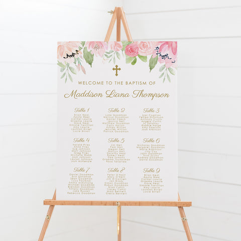 Beautiful pink and blush floral girl Baptism Seating Chart with gold text and wreath