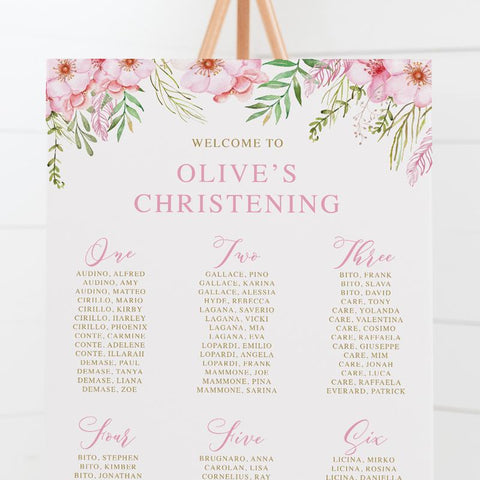 Baptism seating chart with beautiful pink flowers and foliage and gold text