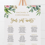 Baptism seating chart with eucalyptus leaves, native flowers and contemporary script font.