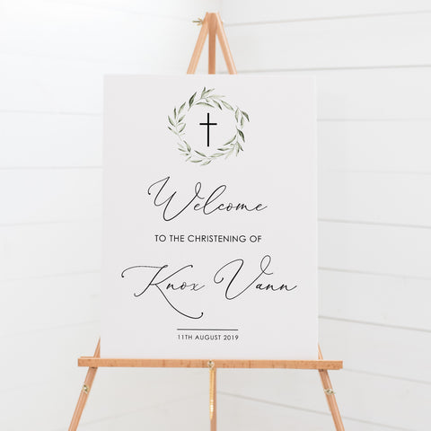 Baptism or Christening welcome sign with beautiful modern calligraphy and delicate watercolour wreath