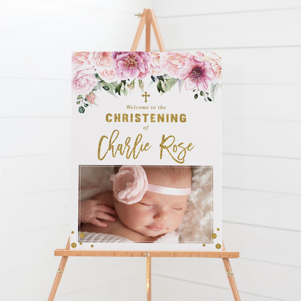 Baptism welcome sign with pink flowers and foliage and large photo of your daughter