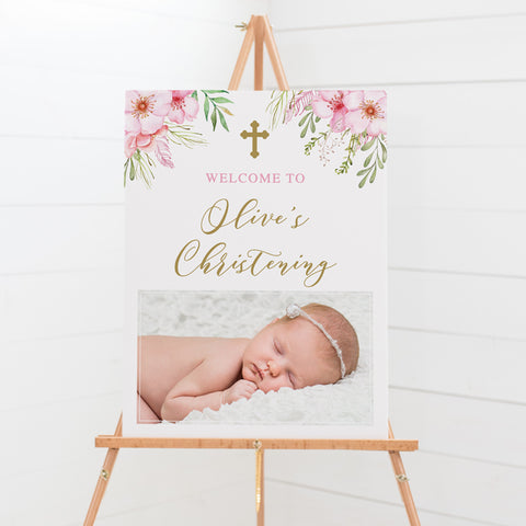 Baptism welcome sign with photo of your daughter and pink flowers