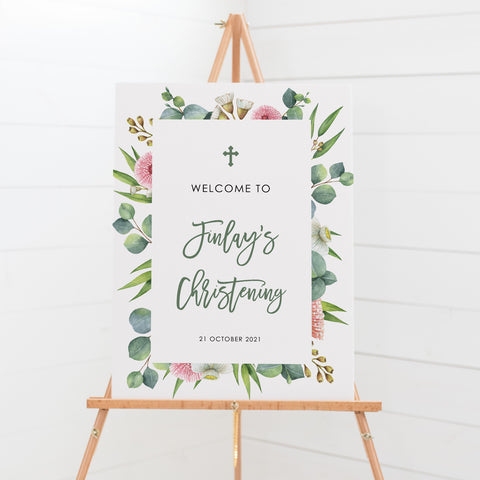 Baptism or Christening welcome sign with eucalyptus leaves and modern font
