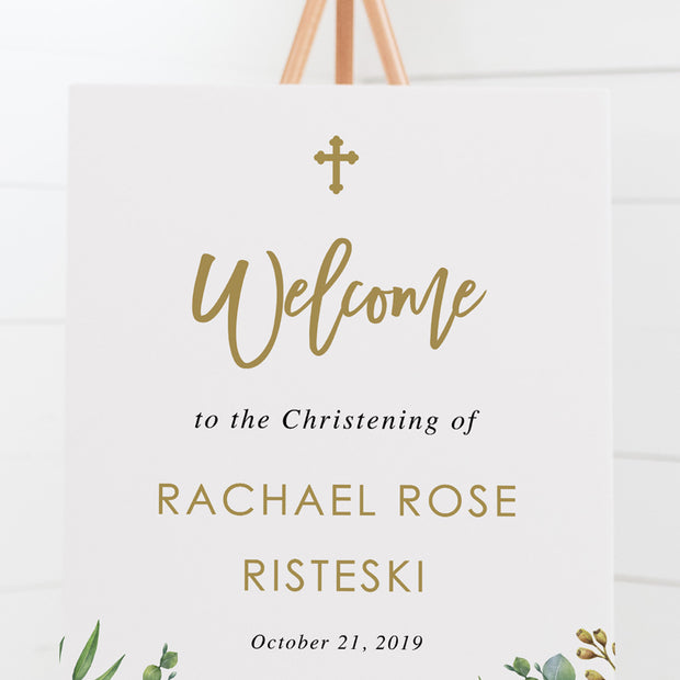 Modern Baptism welcome sign design featuring gorgeous eucalyptus and Australian native flowers with gold text.