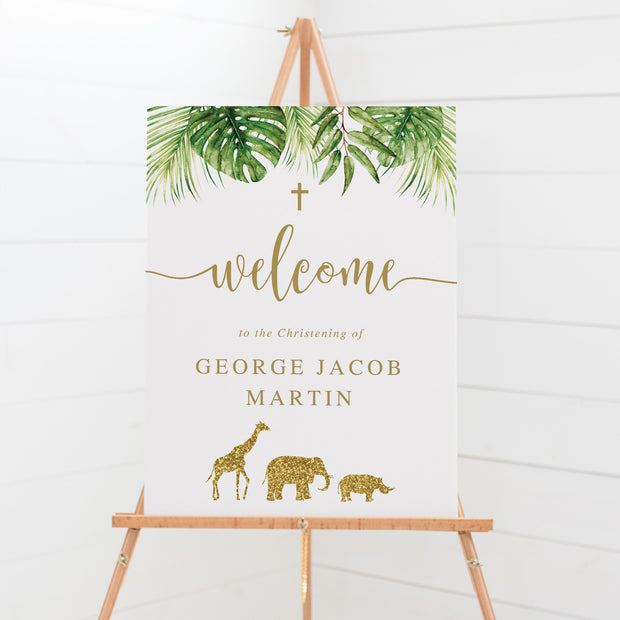Baptism welcome sign with gold glitter safari animals and tropical jungle leaves