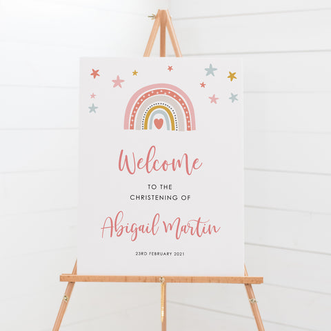 Baptism welcome sign board with pink colourful rainbow hand drawn and little stars