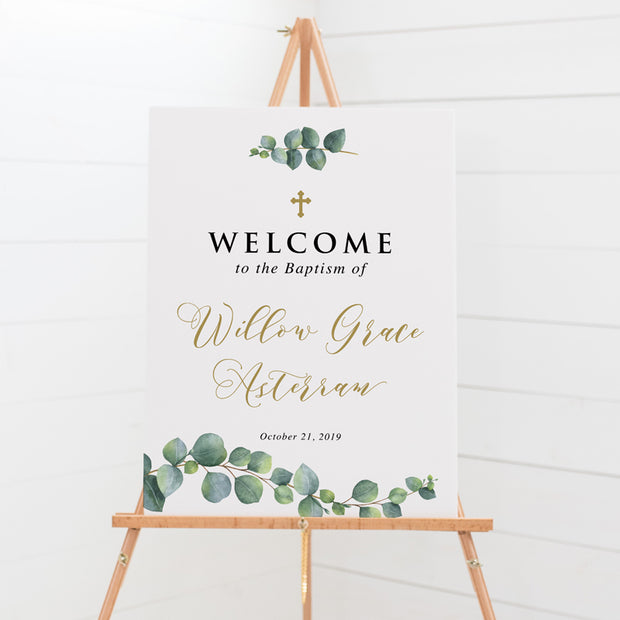 Baptism welcome sign with traditional calligraphy, beautiful cross design and watercolour eucalyptus leaves