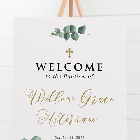 Christening welcome sign with traditional calligraphy, beautiful cross design and watercolour eucalyptus leaves