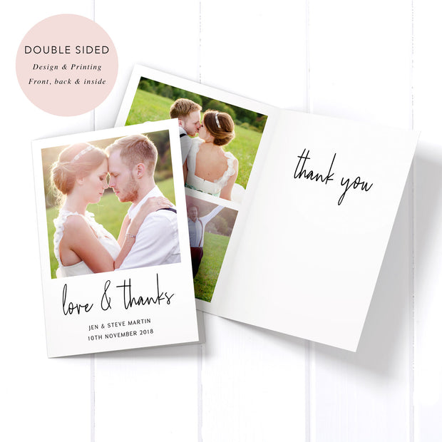 Folded wedding photo thank you cards, designed and printed on all sides in Australia