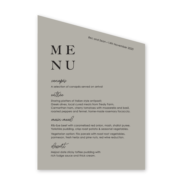 Wedding menu, die cut angle at top, stone colour with white ink printing, professionally printed in Australia