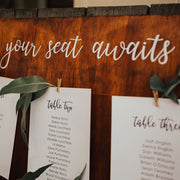 wedding seating chart cards with timber backing board