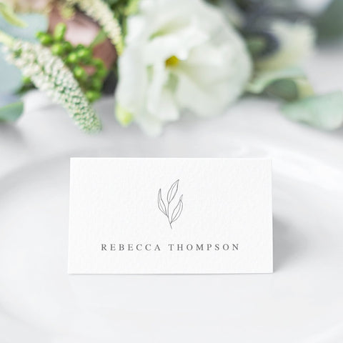 Minimal grey wedding place cards, folded, hand drawn leaf