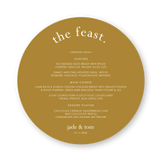 Round wedding menu, the feast heading, terracotta cardstock with white ink printing