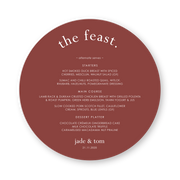 Round wedding menu, the feast heading, marsala cardstock with white ink printing