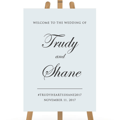 Wedding welcome sign board, traditional calligraphy, light blue and grey