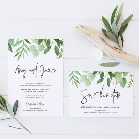 Wedding save the date with modern script font and border of green leaves