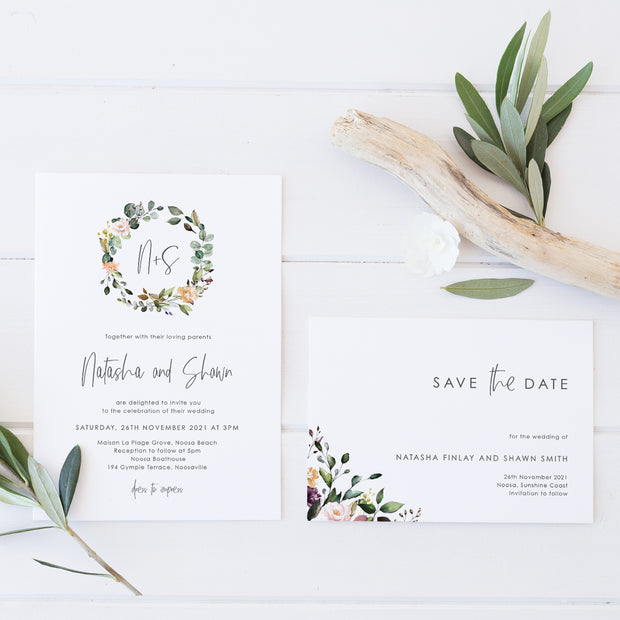 Boho wedding invitation and save the date with modern script font and watercolour floral wreath in natural colours