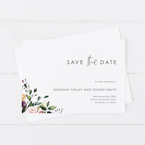 Boho wedding save the date with modern script font and watercolour floral wreath in natural colours