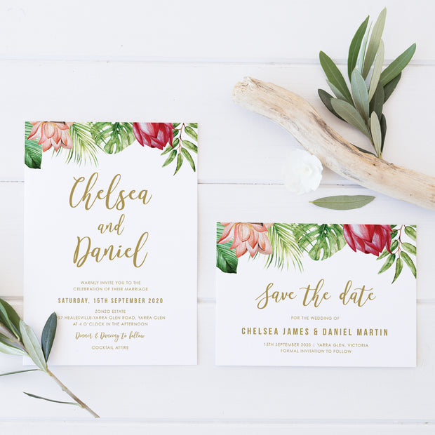 Tropical wedding save the date card with monstera and other leaves and flowers