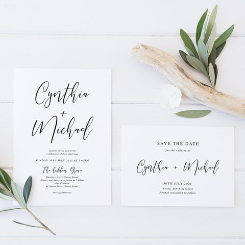Wedding save the date in modern minimal style with calligraphy font. All colours can be adjusted.