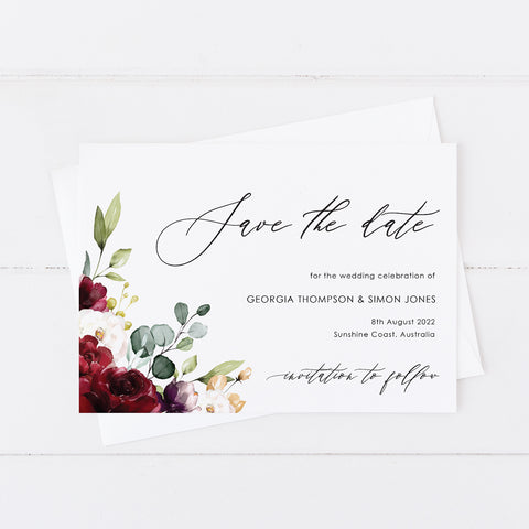 Wedding save the date card, red florals and foliage and modern calligraphy font for names
