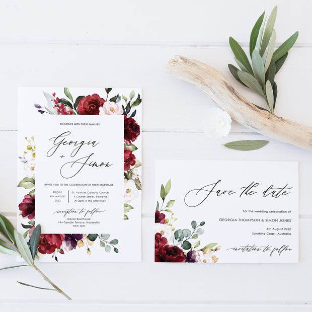 Wedding save the date card card, red florals and foliage and modern calligraphy font for names